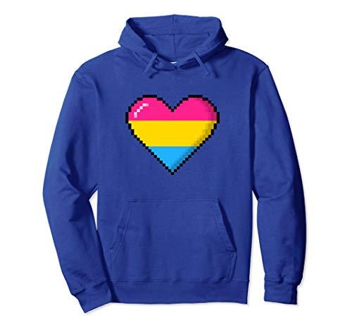 Pansexual Pride 8-Bit Pixel Heart Pullover Hoodie