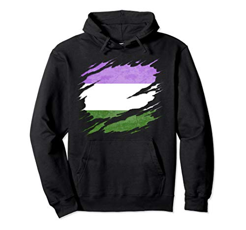 Genderqueer Pride Flag Ripped Pullover Hoodie