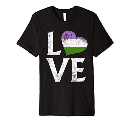 Genderqueer Pride Flag Heart Stacked Love Premium T-Shirt