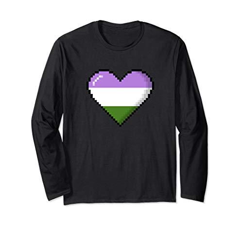 Genderqueer Pride 8-Bit Pixel Heart Long Sleeve T-Shirt