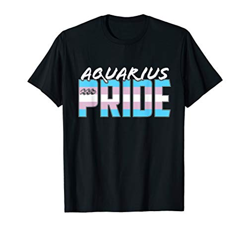 Aquarius Transgender Pride Flag Zodiac Sign T-Shirt