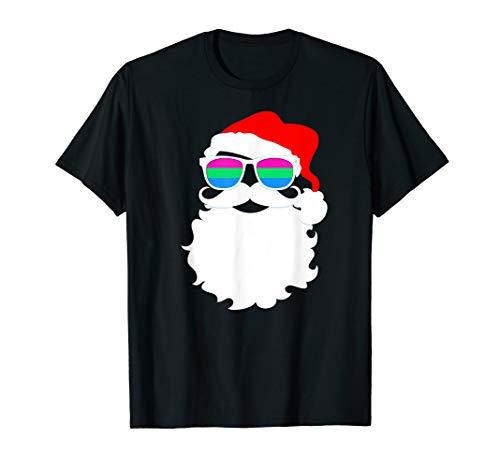 Cool Santa Claus Polysexual Pride Flag Sunglasses T-Shirt