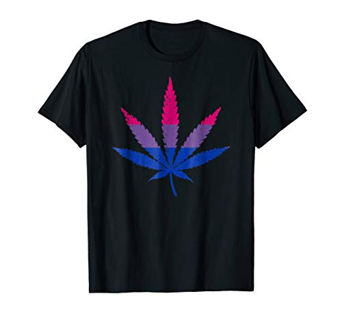 Distressed Bisexual Pride Flag Marijuana Pot Leaf T-Shirt