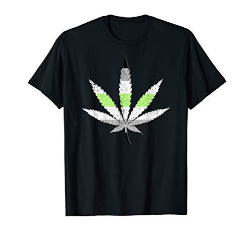 Distressed Agender Pride Flag Marijuana Pot Leaf T-Shirt