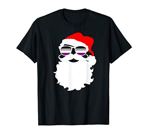 Cool Santa Claus Asexual Pride Flag Sunglasses T-Shirt