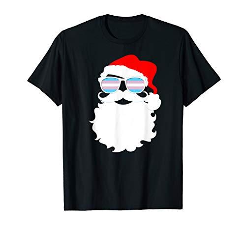 Cool Santa Claus Transgender Pride Flag Sunglasses T-Shirt