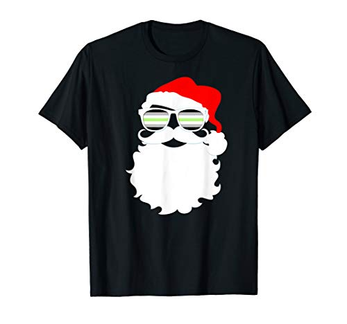 Cool Santa Claus Agender Pride Flag Sunglasses T-Shirt
