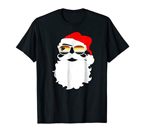 Cool Santa Claus Gay Bear Pride Flag Sunglasses T-Shirt