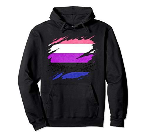 Genderfluid Pride Ripped Reveal Pullover Hoodie