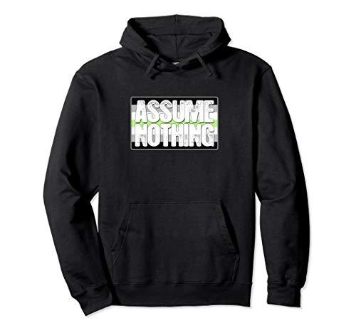 Assume Nothing Agender Pride Flag Pullover Hoodie