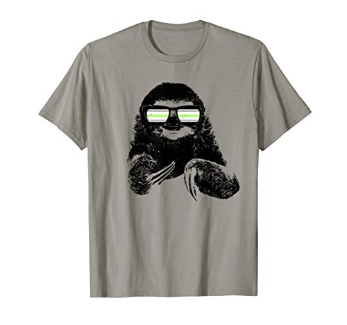 Pride Sloth Agender Flag Sunglasses T-Shirt