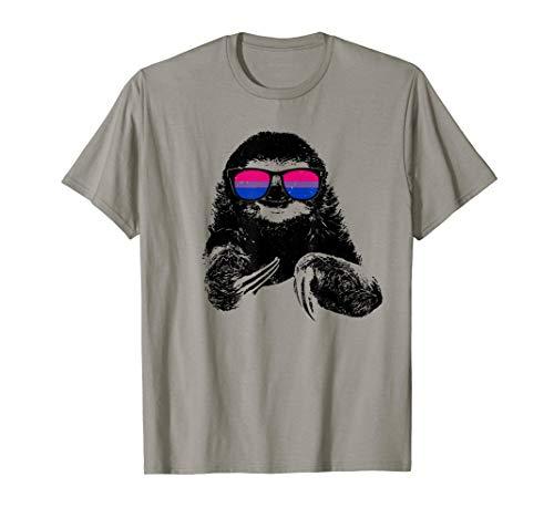 Pride Sloth Bisexual Flag Sunglasses T-Shirt