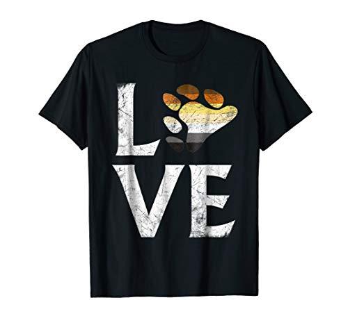 Mens Gay Bear Pride Flag Heart Stacked Love T-Shirt