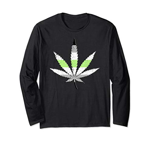 Agender Pride Flag Marijuana Pot Leaf Long Sleeve T-Shirt