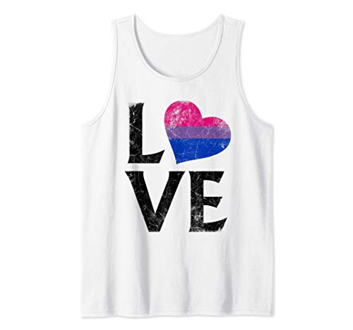 Bisexual Pride Flag Heart Stacked Love Tank Top