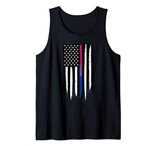 Bisexual Pride Thin Line American Flag Tank Top