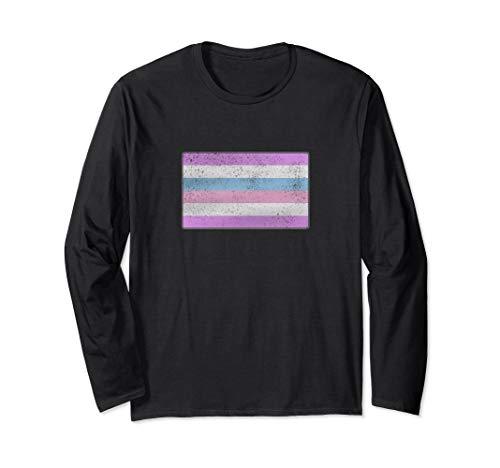 Distressed Bigender Pride Flag Long Sleeve T-Shirt