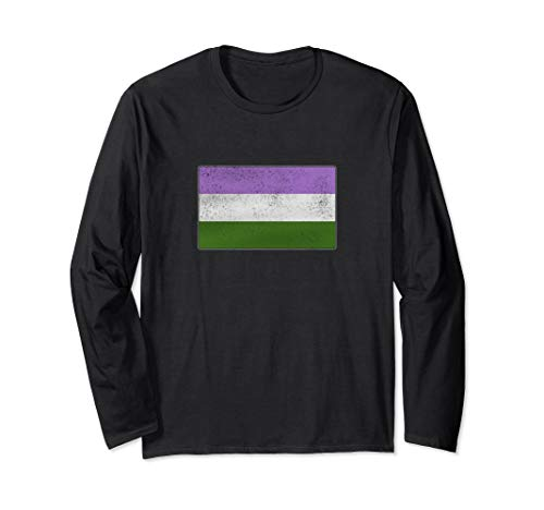 Distressed Genderqueer Pride Flag Long Sleeve T-Shirt