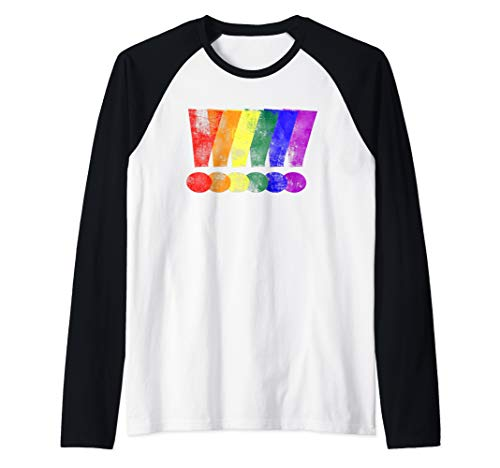 Distressed LGBT Pride Whee! Exclamation Points Raglan Baseball Tee
