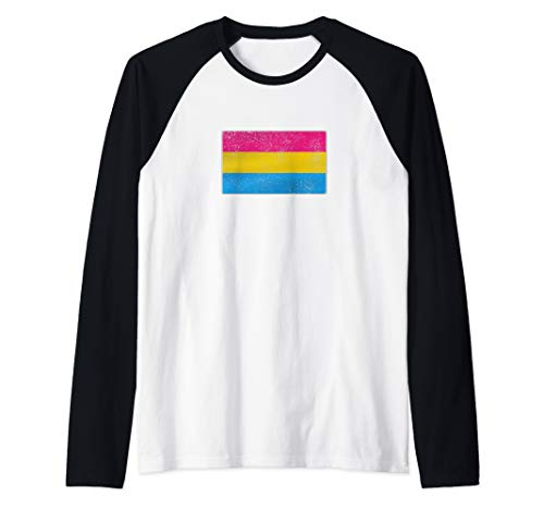 Distressed Pansexual Pride Flag Raglan Baseball Tee