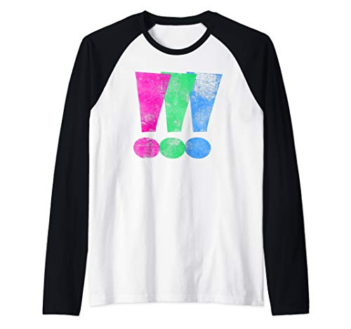 Distressed Polysexual Pride Exclamation Point Raglan Baseball Tee