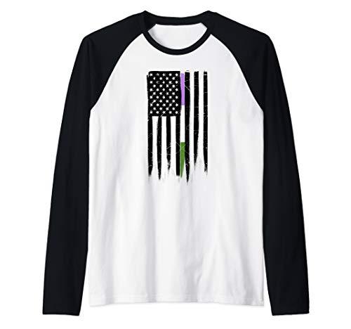 Genderqueer Pride Thin Line American Flag Raglan Baseball Tee
