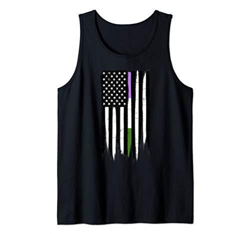 Genderqueer Pride Thin Line American Flag Tank Top