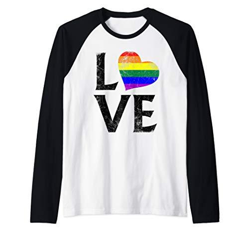 LGBT Gay Pride Flag Heart Stacked Love Raglan Baseball Tee