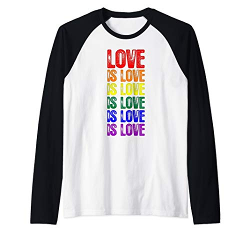 LGBT Gay Pride Flag Love is Love is Love Raglan Baseball Tee