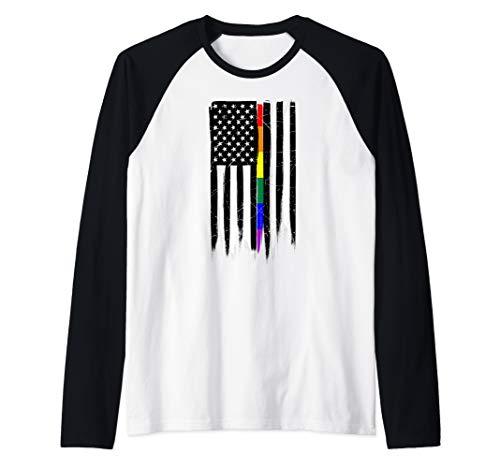 LGBT Gay Pride Thin Line American Flag Raglan Baseball Tee