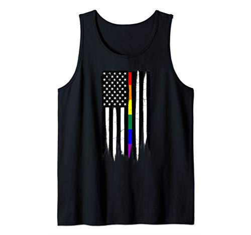 LGBT Gay Pride Thin Line American Flag Tank Top