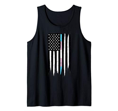 LGBT Transgender Pride Thin Line American Flag Tank Top