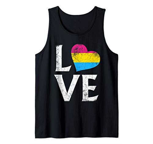 Pansexual Pride Flag Heart Stacked Love Tank Top