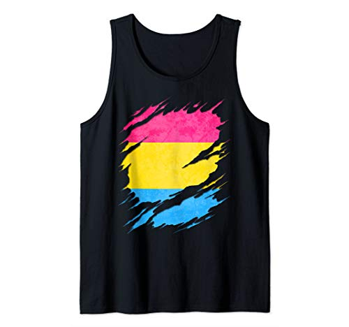 Pansexual Pride Flag Ripped Reveal Tank Top