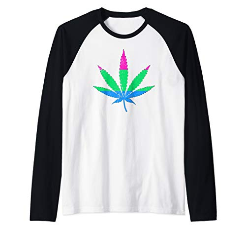 Polysexual Pride Flag Marijuana Pot Leaf Raglan Baseball Tee