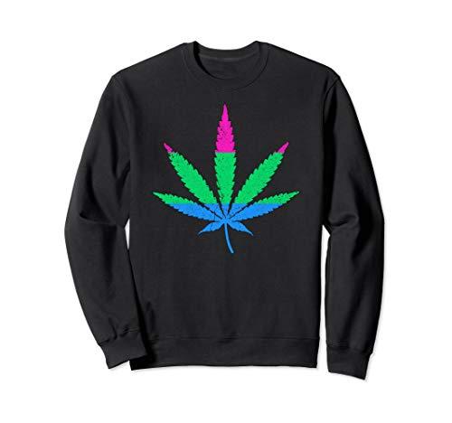 Polysexual Pride Flag Marijuana Pot Leaf Sweatshirt