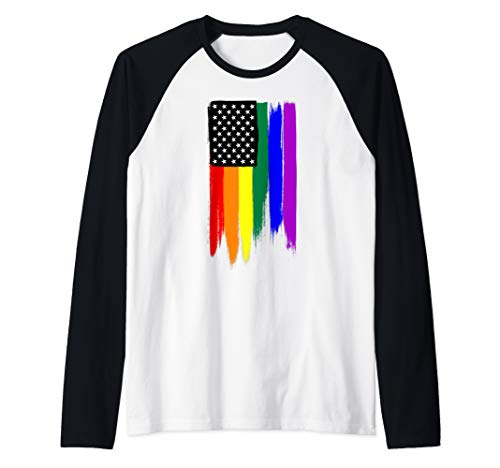 Rainbow Gay Pride Stars and Stripes American Flag Raglan Baseball Tee