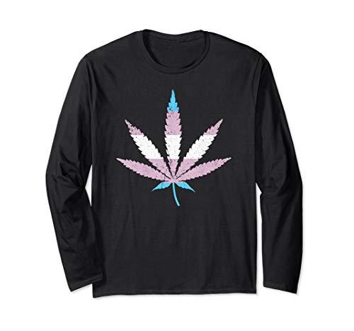 Transgender Pride Flag Marijuana Pot Leaf Long Sleeve T-Shirt