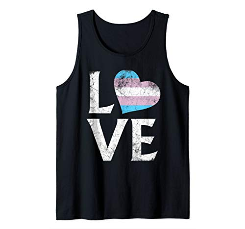 Transgender Pride Flag Stacked Heart Love Tank Top