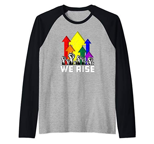 We Rise LGBT Gay Pride Protest Raglan Baseball Tee