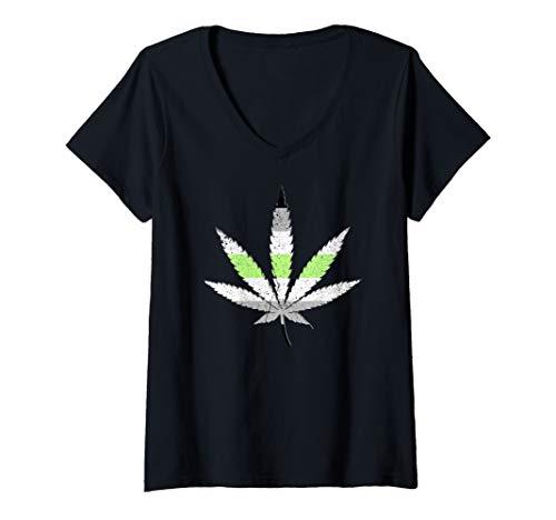Womens Agender Pride Flag Marijuana Pot Leaf V-Neck T-Shirt