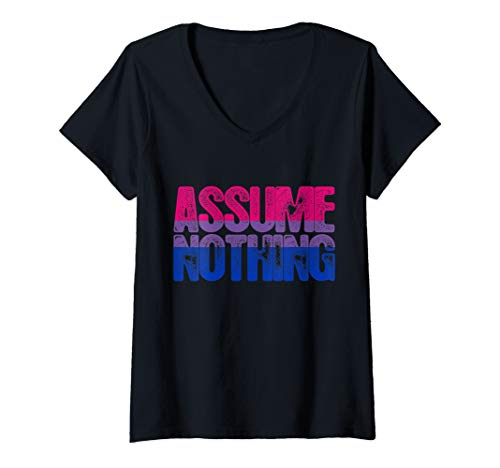 Womens Assume Nothing - Bisexual Pride V-Neck T-Shirt
