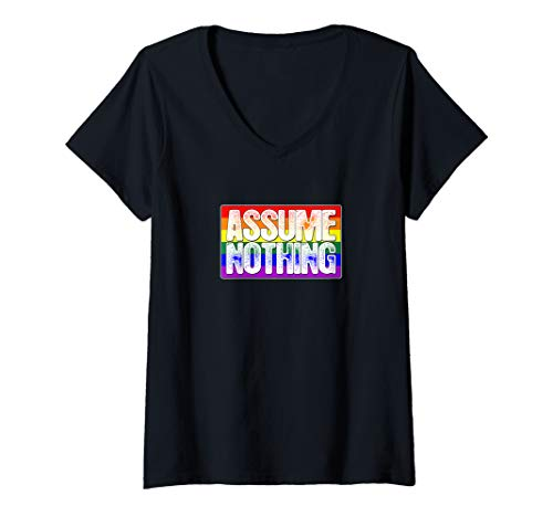 Womens Assume Nothing LGBT Gay Pride Flag V-Neck T-Shirt