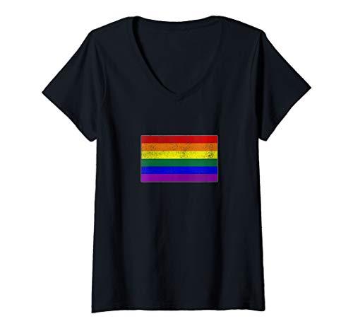 Womens Distressed LGBT Gay Pride Flag V-Neck T-Shirt