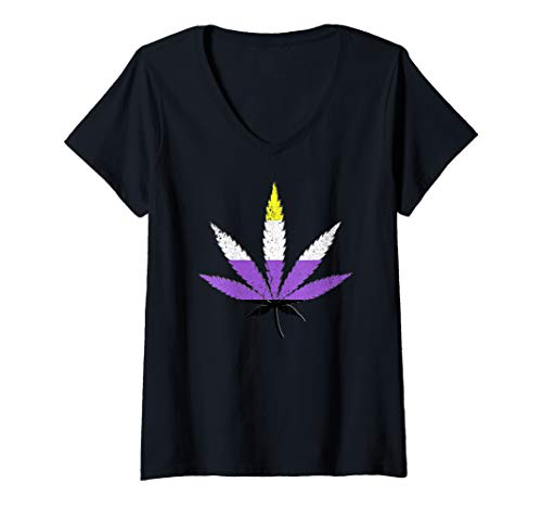 Womens Distressed Nonbinary Pride Flag Marijuana Pot Leaf V-Neck T-Shirt