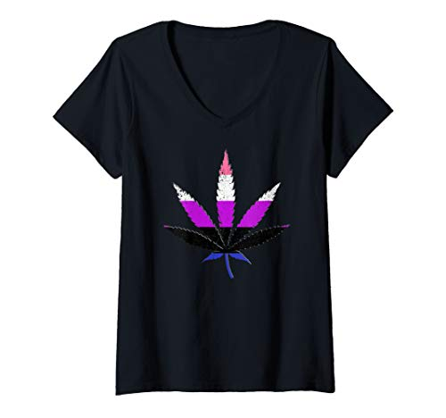 Womens Genderfluid Pride Flag Marijuana Pot Leaf V-Neck T-Shirt