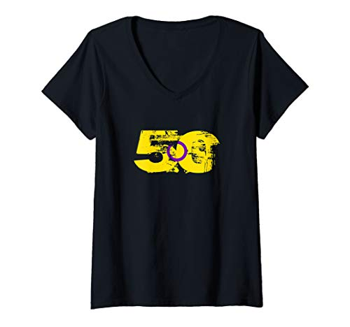 Womens Intersex Grunge 50 Pride Flag V-Neck T-Shirt