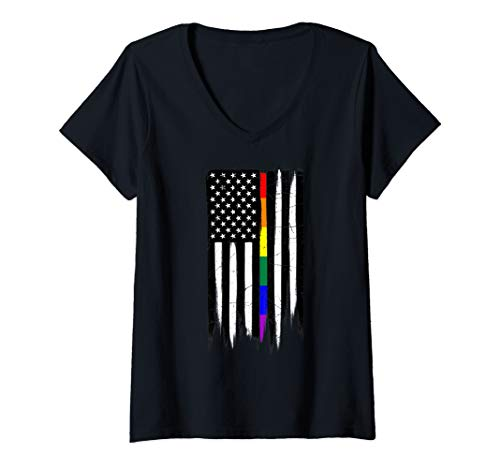 Womens LGBT Gay Pride Thin Line American Flag V-Neck T-Shirt