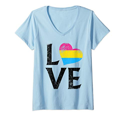 Womens Pansexual Pride Flag Heart Stacked Love V-Neck T-Shirt