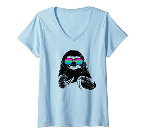 Womens Pride Sloth Polysexual Flag Sunglasses V-Neck T-Shirt